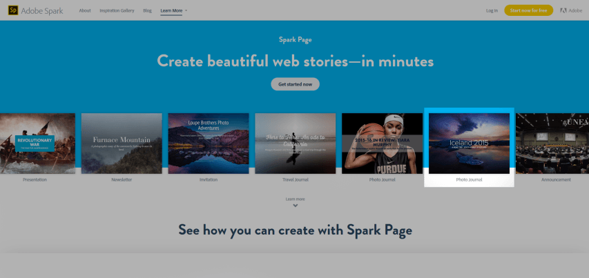 Adobe Spark Pages Showcase