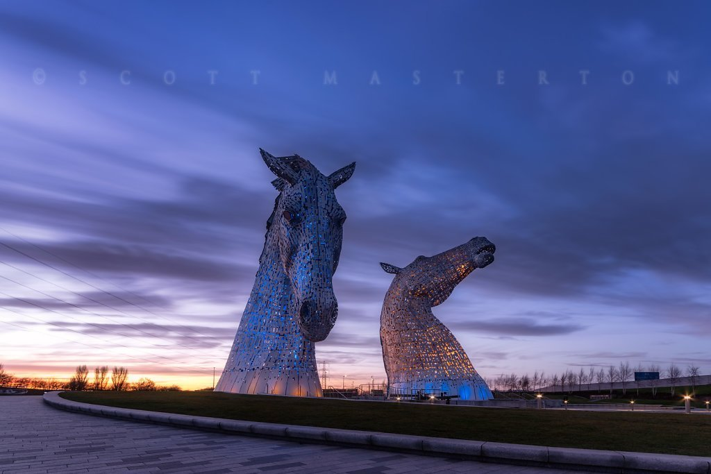 UK, Scotland, Falkirk, 'The Kelpies', public art sculptures by Andy Scott