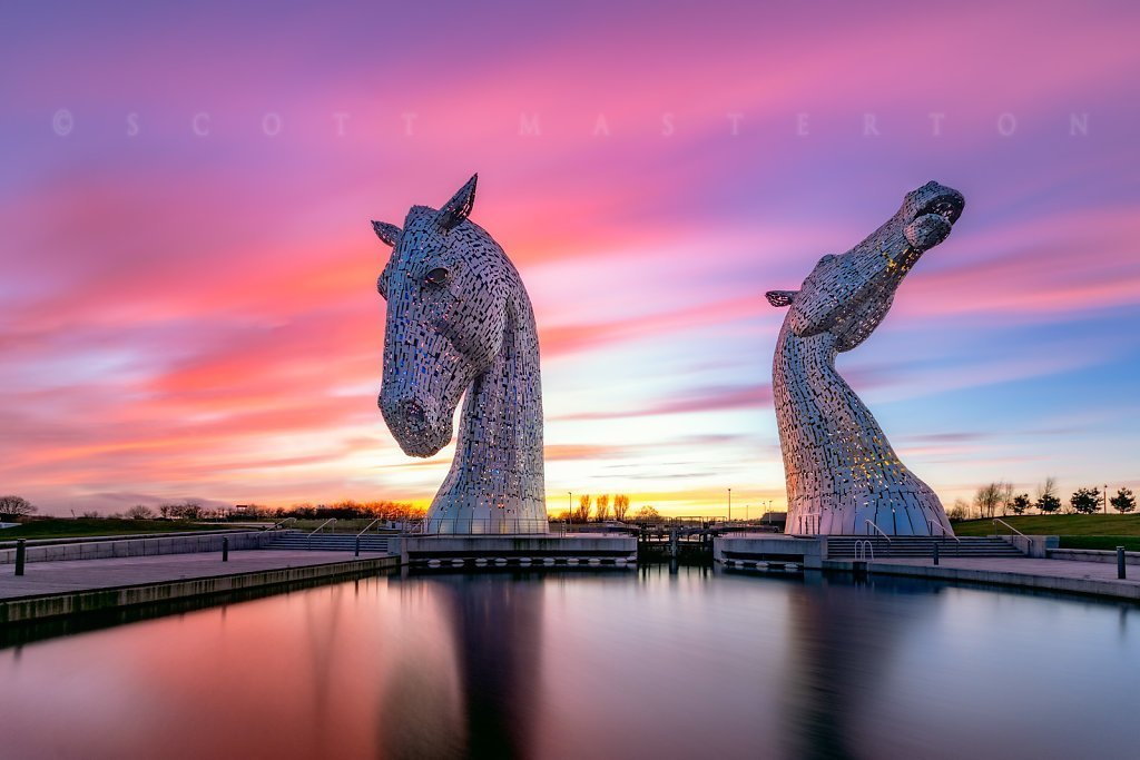 UK, Scotland, Falkirk, 'The Kelpies', public art sculptures by Andy Scott.