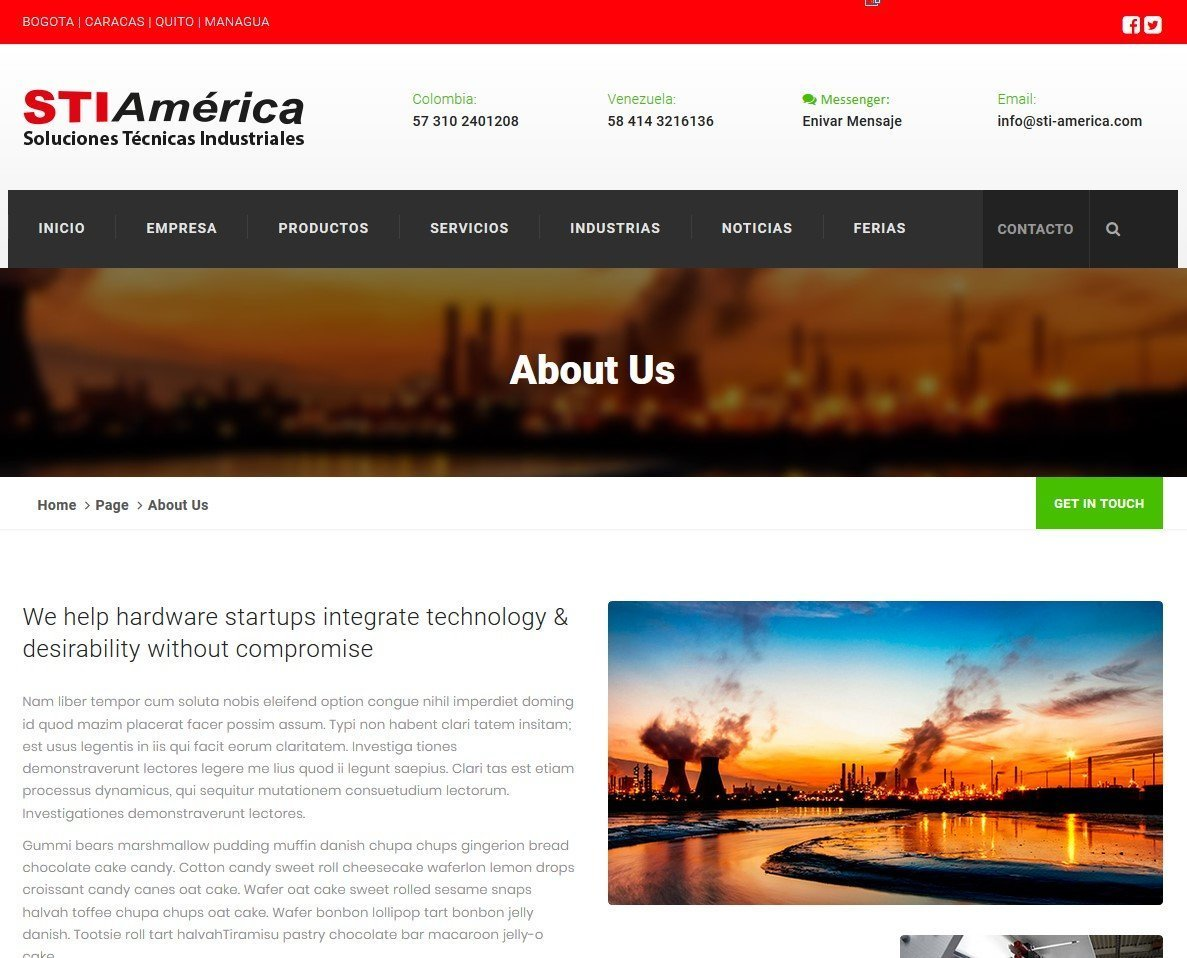 IMAGE USE ON SOLUCIONES TECNICAS INDUSTRIALES WEBSITE AS AN ILLUSTRATION FOR ONE OF THEIR WEBSITE PAGES