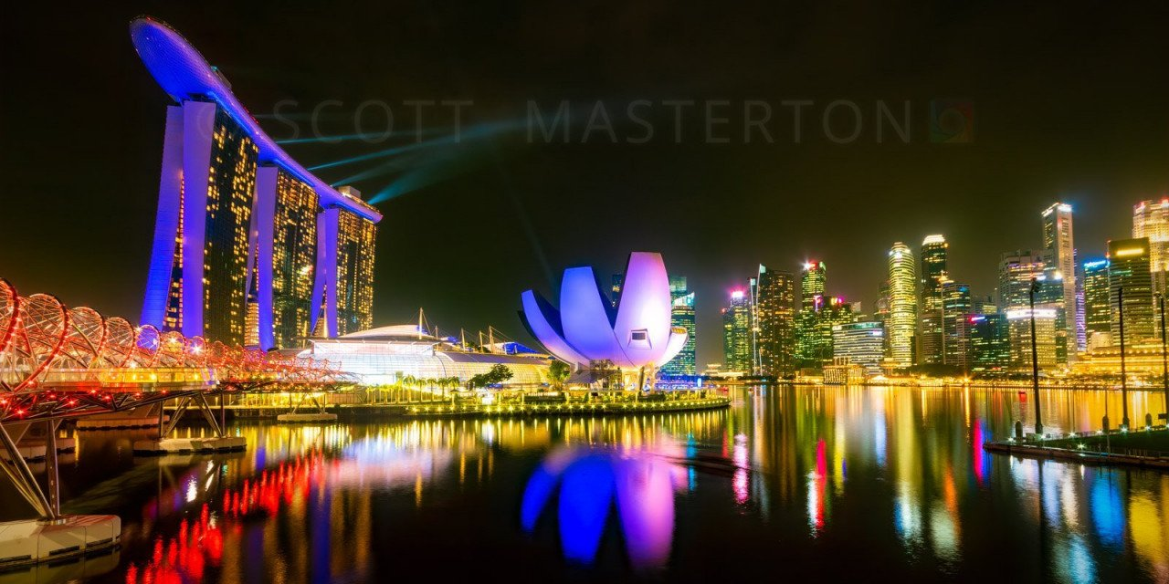 Helix Bridge, Marina Bay Sands Hotel and ArtScience Museum, Singapore.