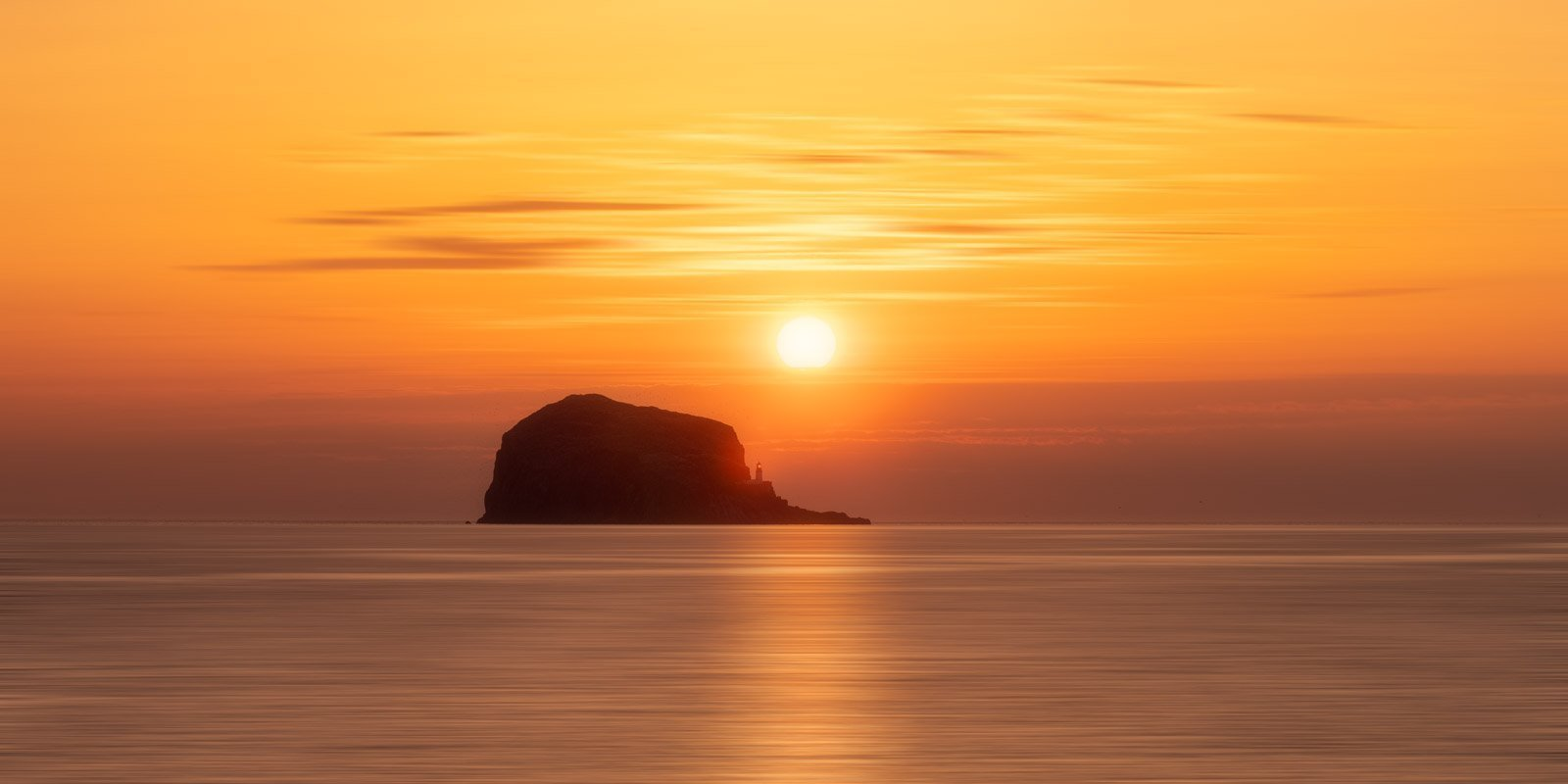 image of Bass Rock at sunrise