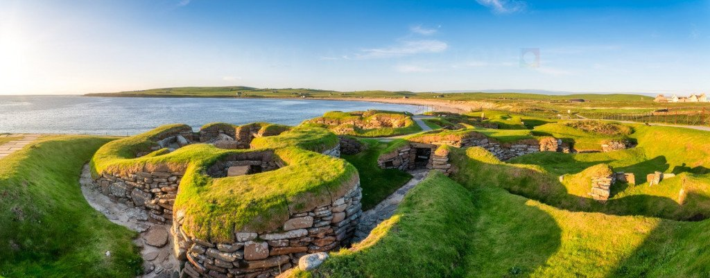 Scotland, Orkney Islands, Skara Brae, world famous neolithic settlement.