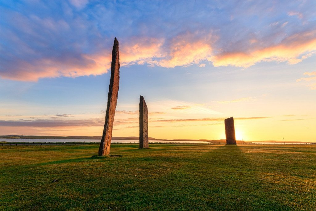 Scotland, Orkney Islands, Mainland, Standing Stones of Stennes, sunset