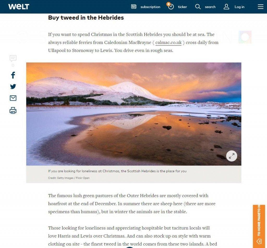 Image use on welt.de Website